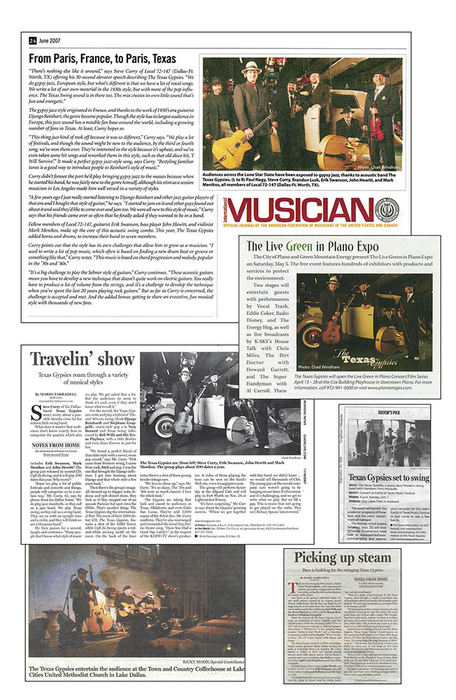 Texas Gypsies press clippings